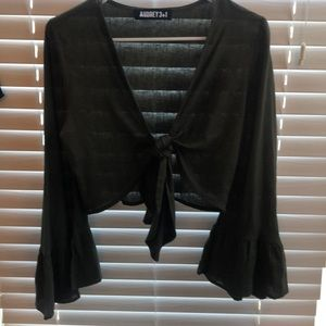 Army green front tie top size small